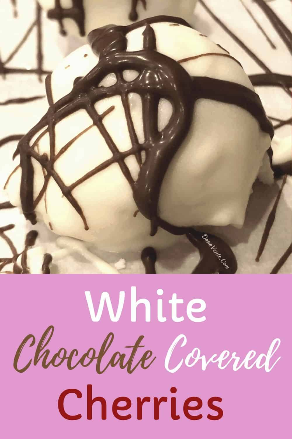 Up close White Chocolate Covered Cherry Drizzled in Dark Chocolate