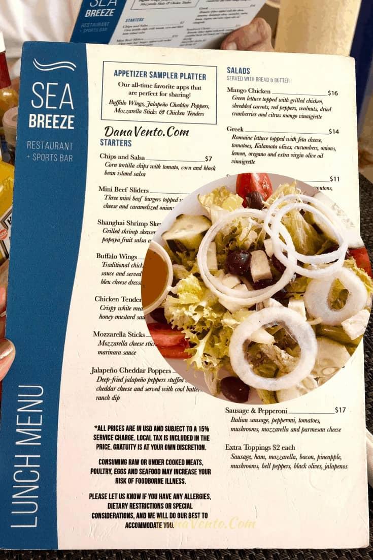 lunch menu  at seabreeze in Divi Village Golf
