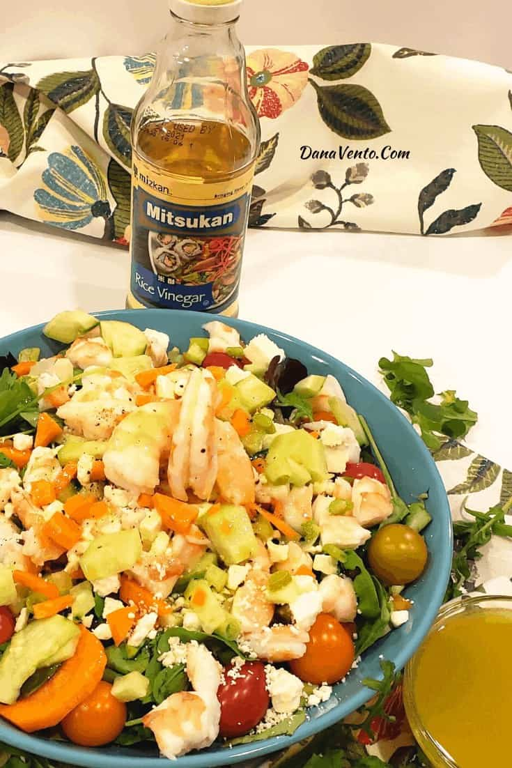 Prepped shrimp feta and mizkan rice vinegar