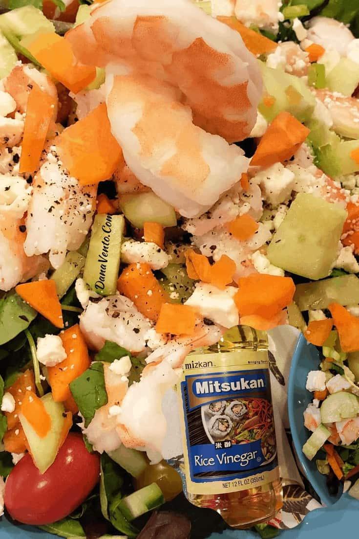 mizkan rice vinegar and shrimp feta salad