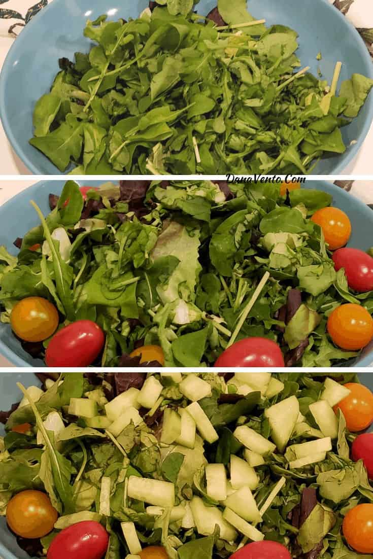 salad in stages with tomatoes, cucumbers