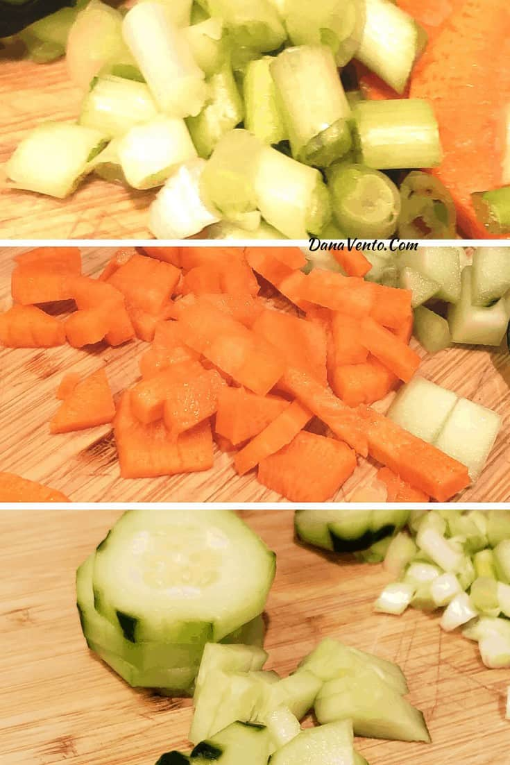 green onions, carrots, cucumbers being chopped