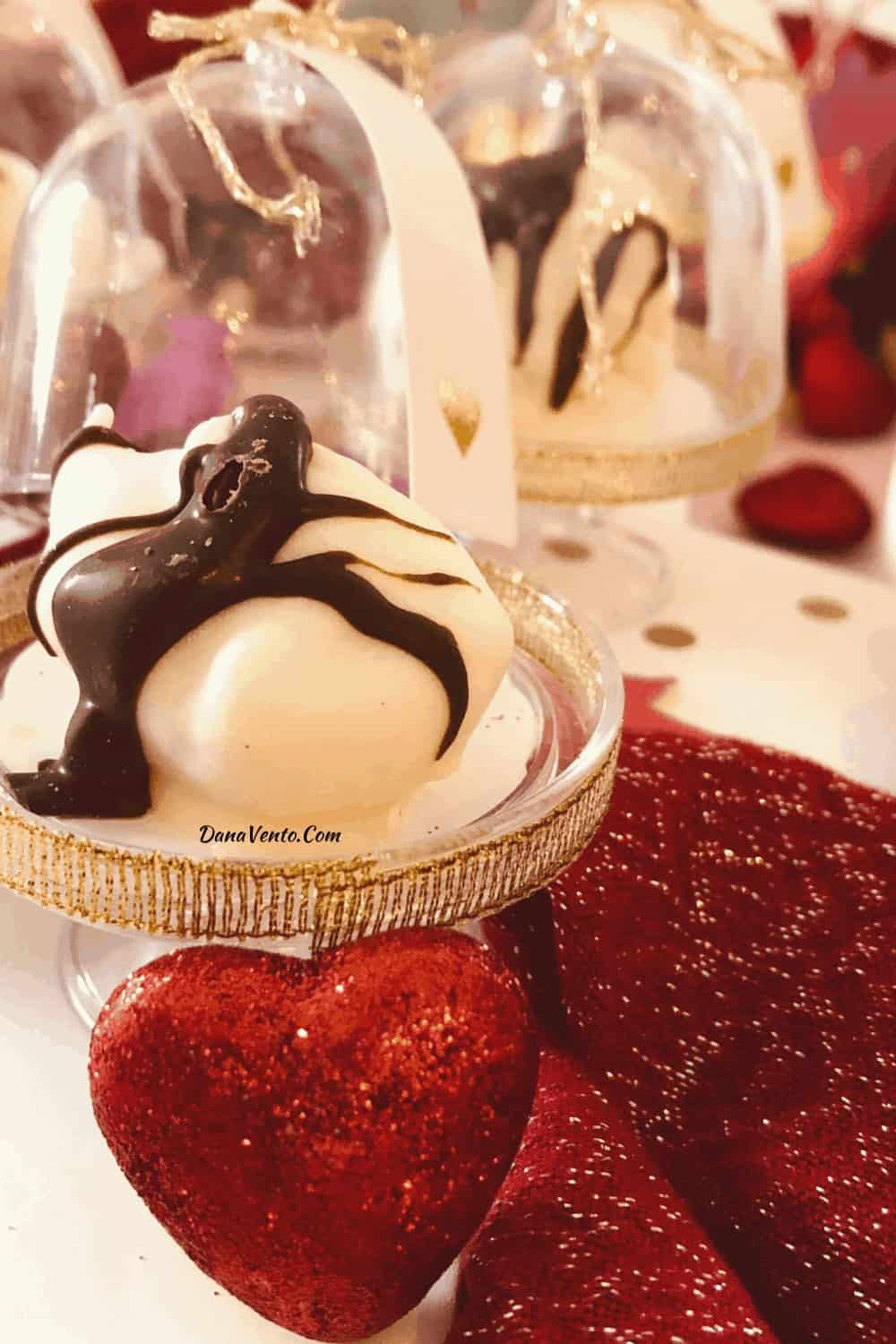 dome globe with white chocolate covered cherry