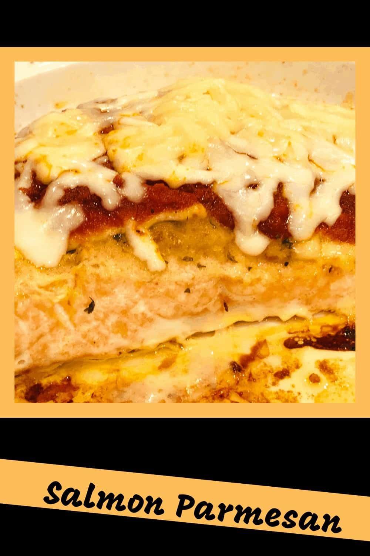 salmon parmesan with melted mozzarella atop