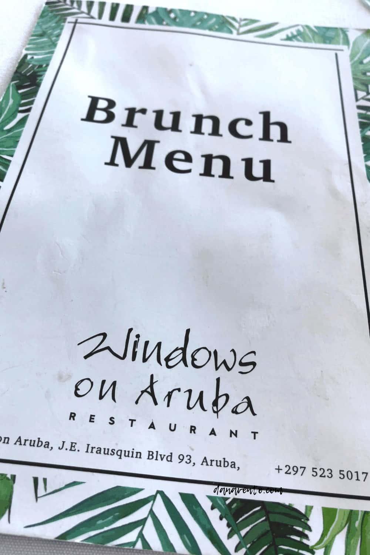 brunch menu Windows ON Aruba