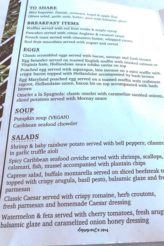 brunch menu at Windows Aruba