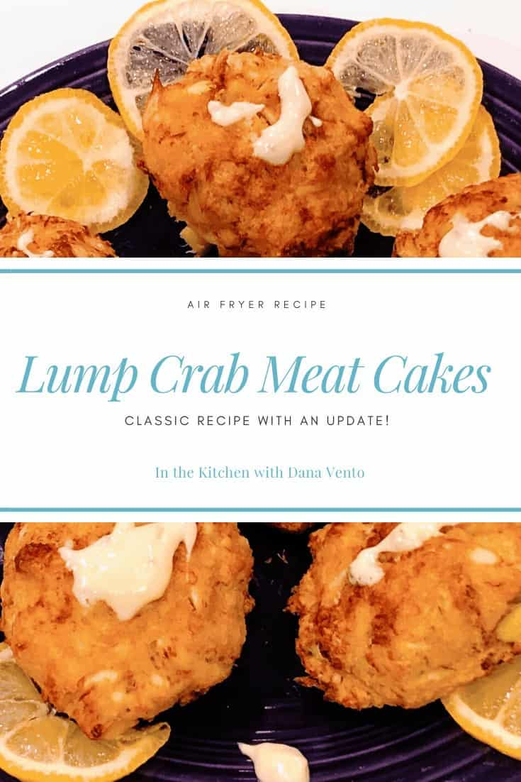air fryer crab cakes on plate with lemon