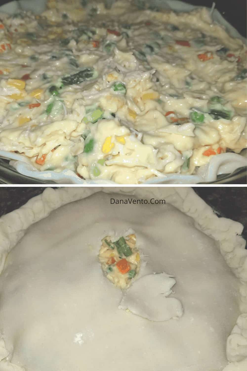chicken pot pie with ingredients mixed