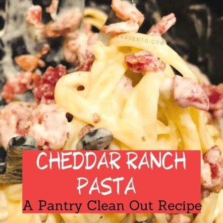 cheddar ranch pasta on spoon