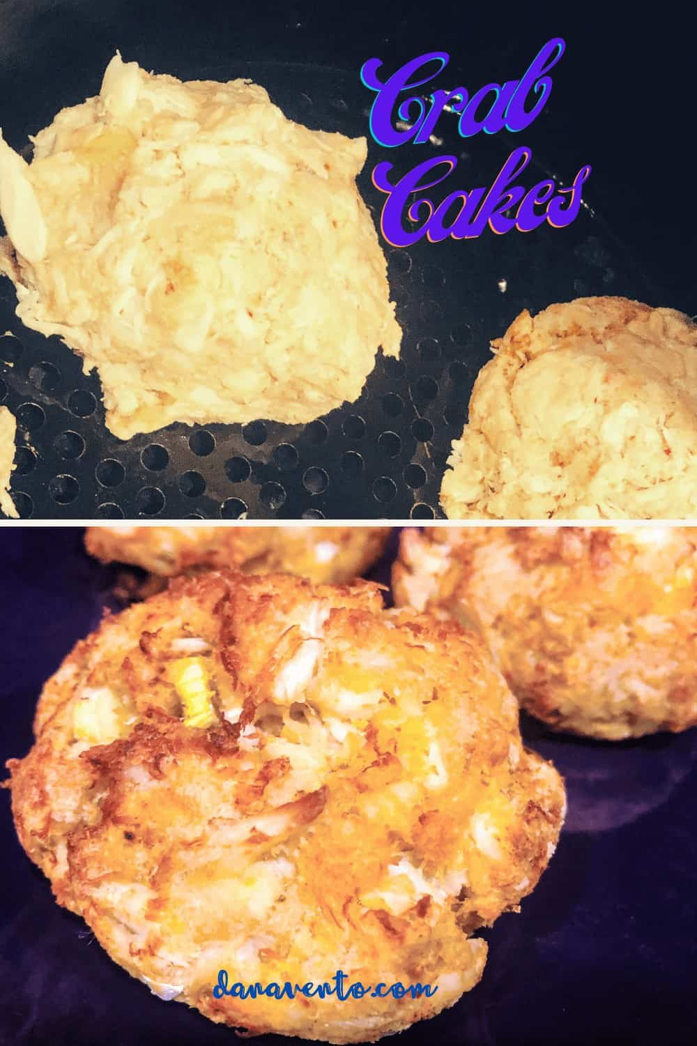 Crab cakes in air fryer before and after frying with no frying oil