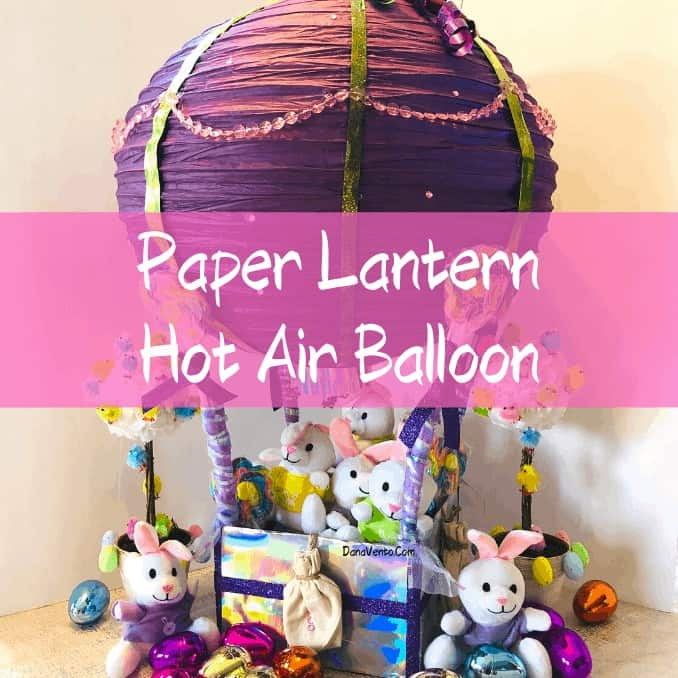 paper lantern hot air balloon bunnies in basket