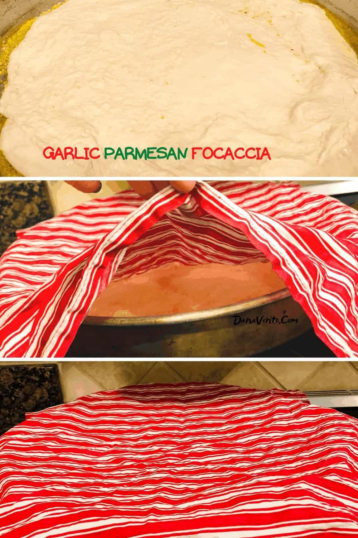 Garlic Parmesan Focaccia Bread on the RISE