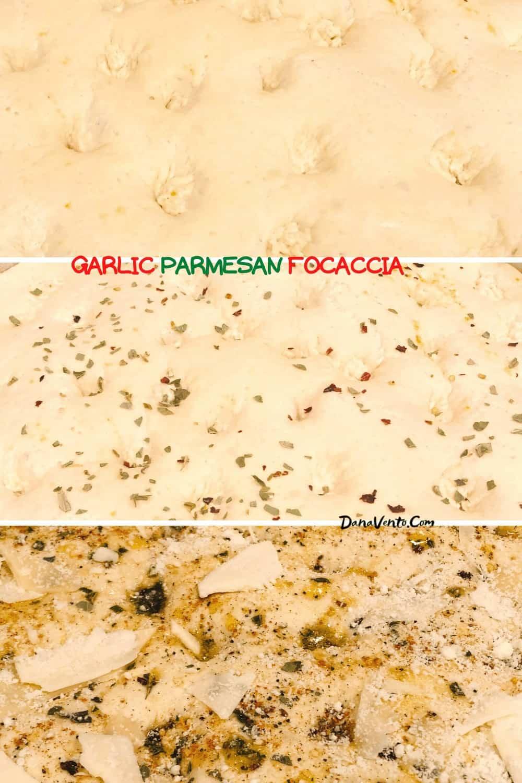 Garlic Parmesan Focaccia Bread dough prepped for baking