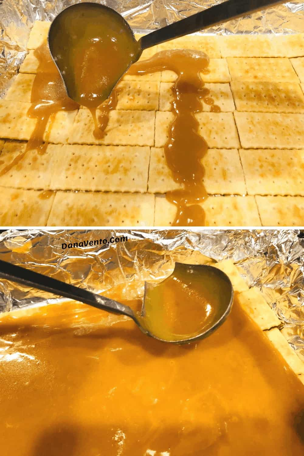 spreading caramel on crackers