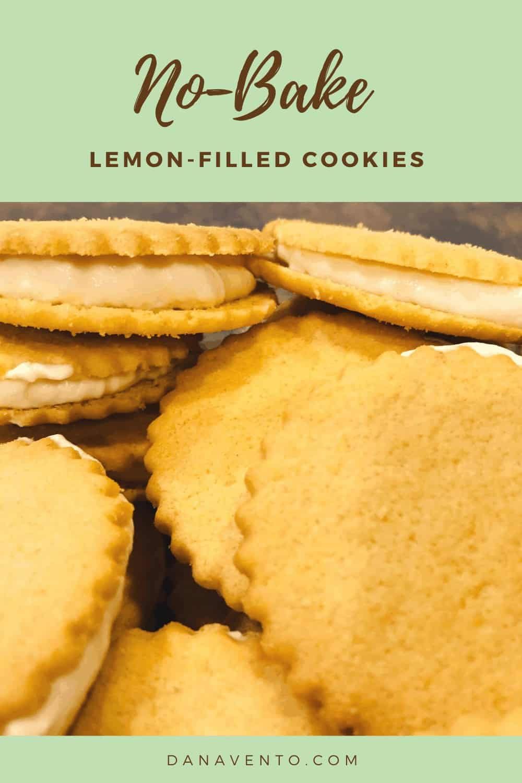 no-bake lemon-filled cookies stacked
