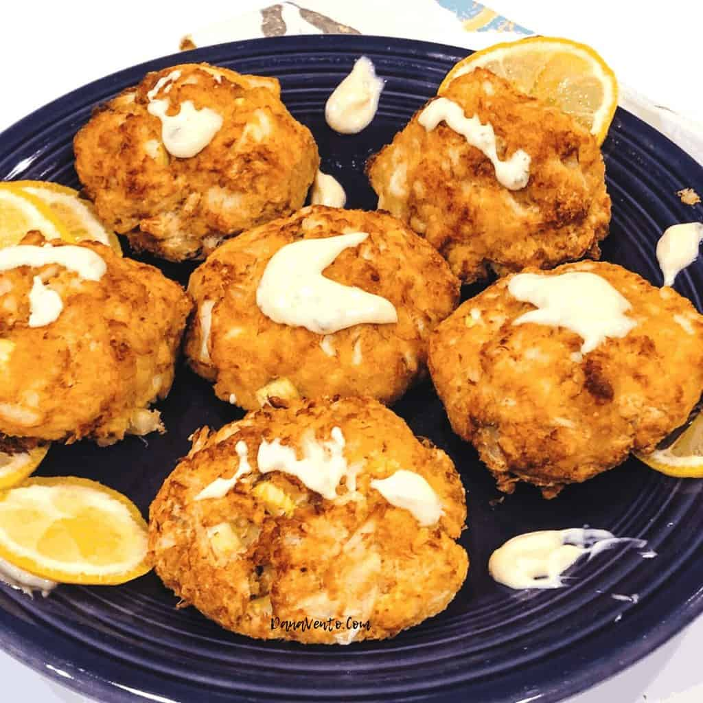 air fryer crab cakes on plate