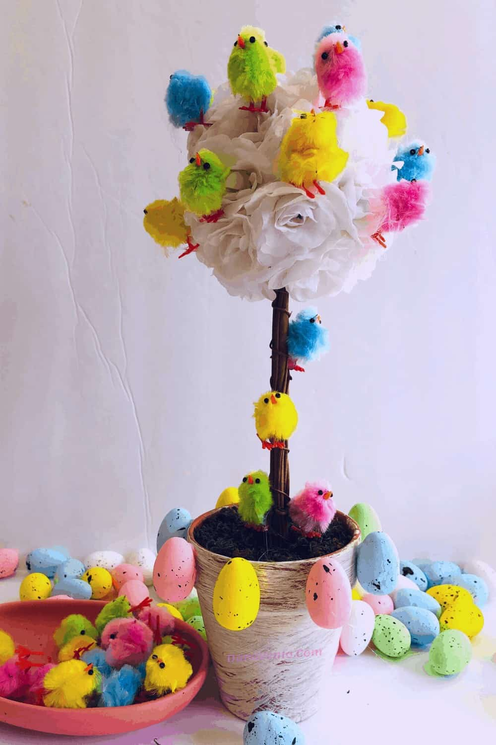 Chick Topiary Tree, Fluffy Chick Topiaries