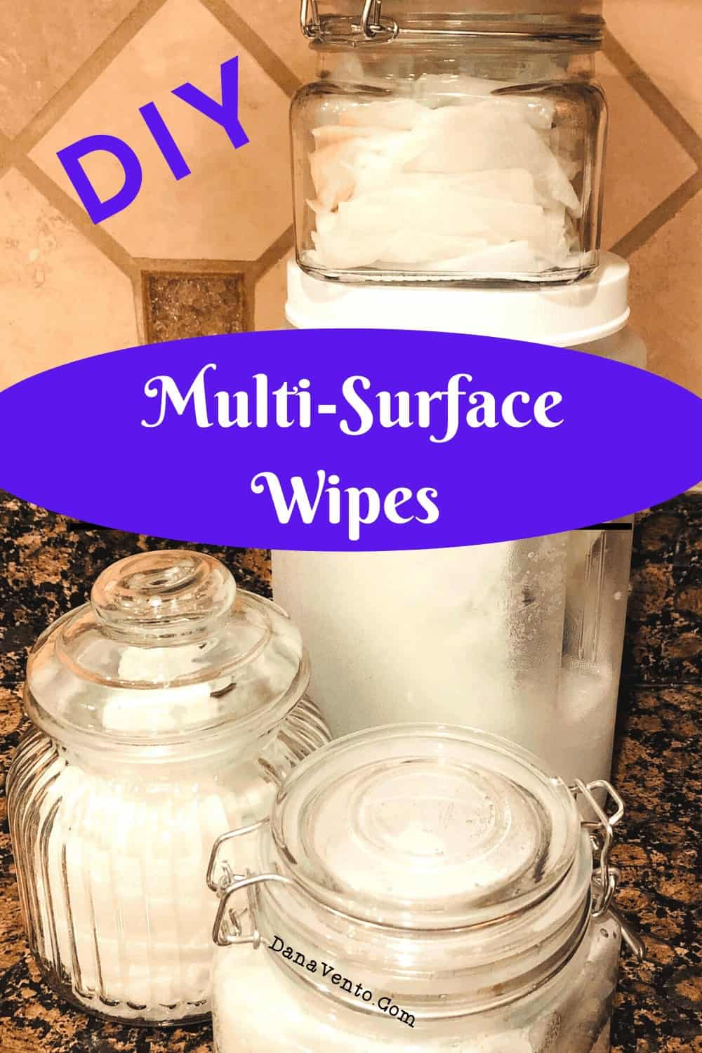 DIY Disinfectant Wipes Multisurface Cleaning, wipes on counter in jars made