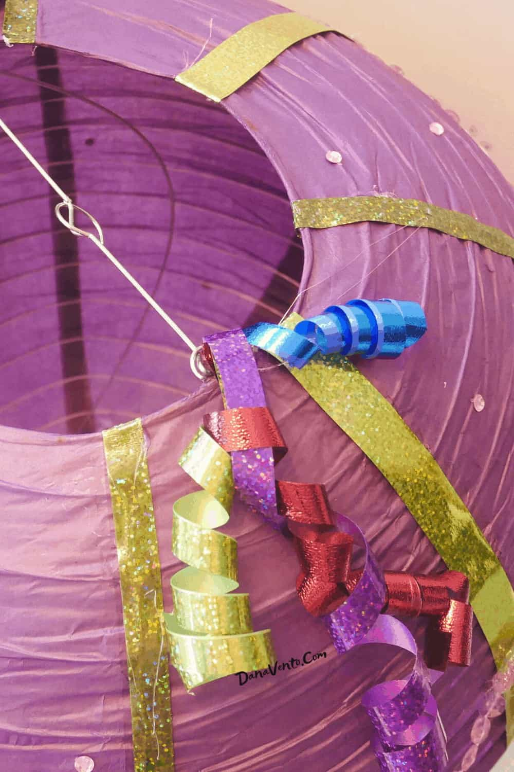 paper lantern hot air balloon with curly ribbon