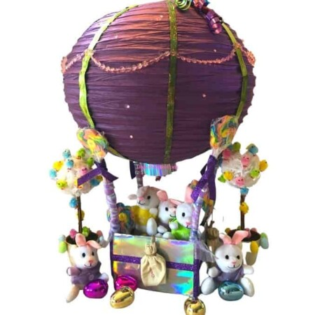 paper lantern hot air balloon basket filled with bunnies