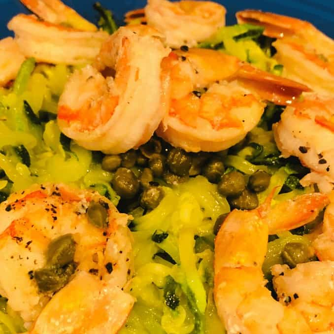 zoodles and shrimp