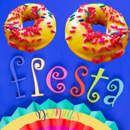 2 fiesta donutS on word FIESTA