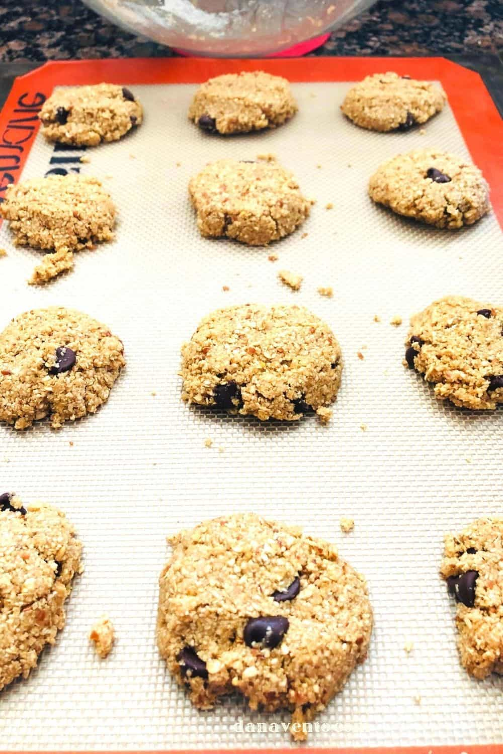 After scooping onto tray no bake chocolate chip cookies