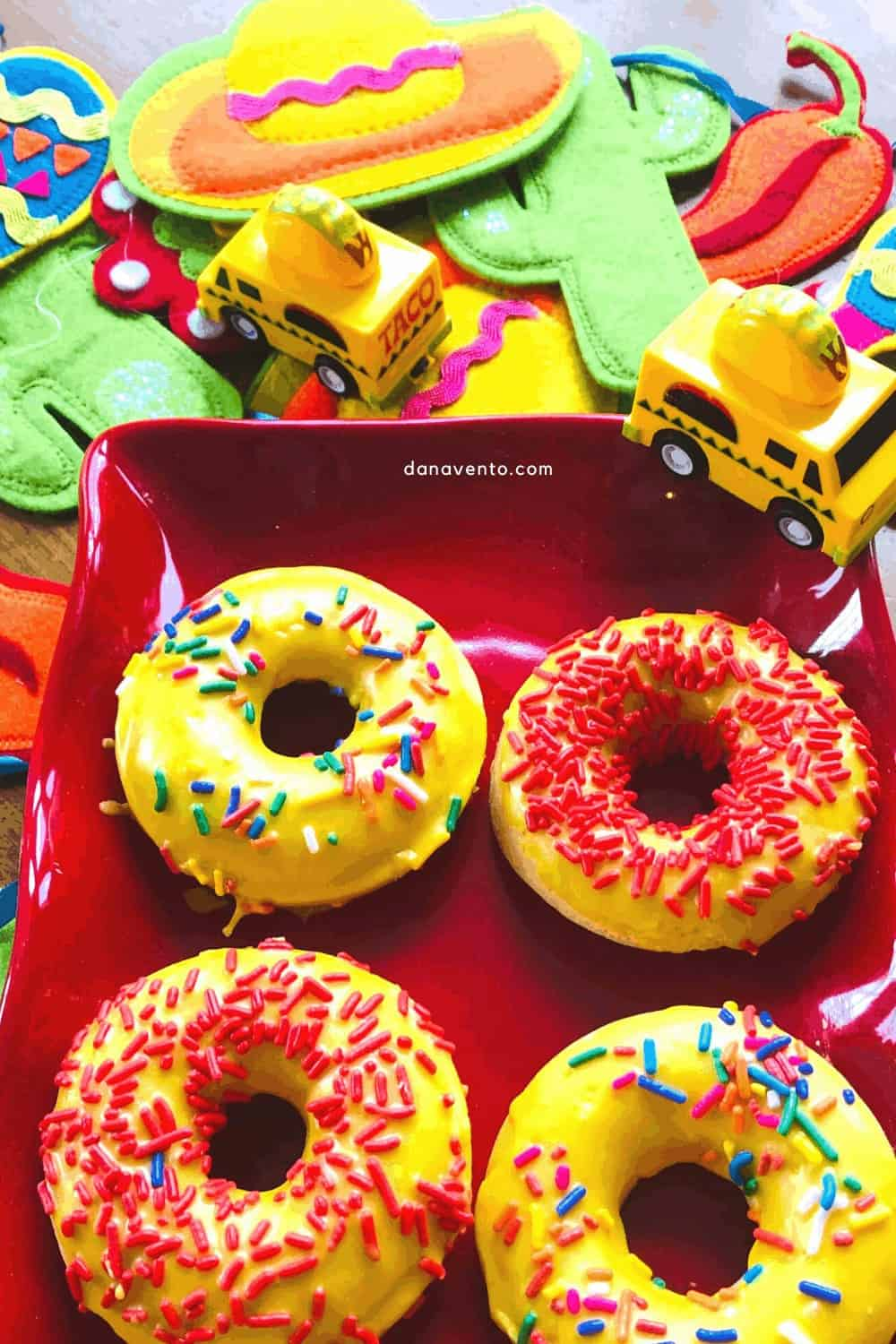 Fiesta donuts on a platter ready for Cindo de Mayo!