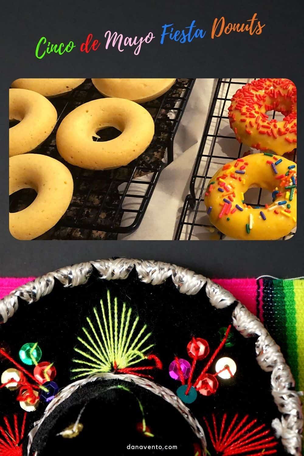 Cinco de Mayo fiesta donuts on cooling rack