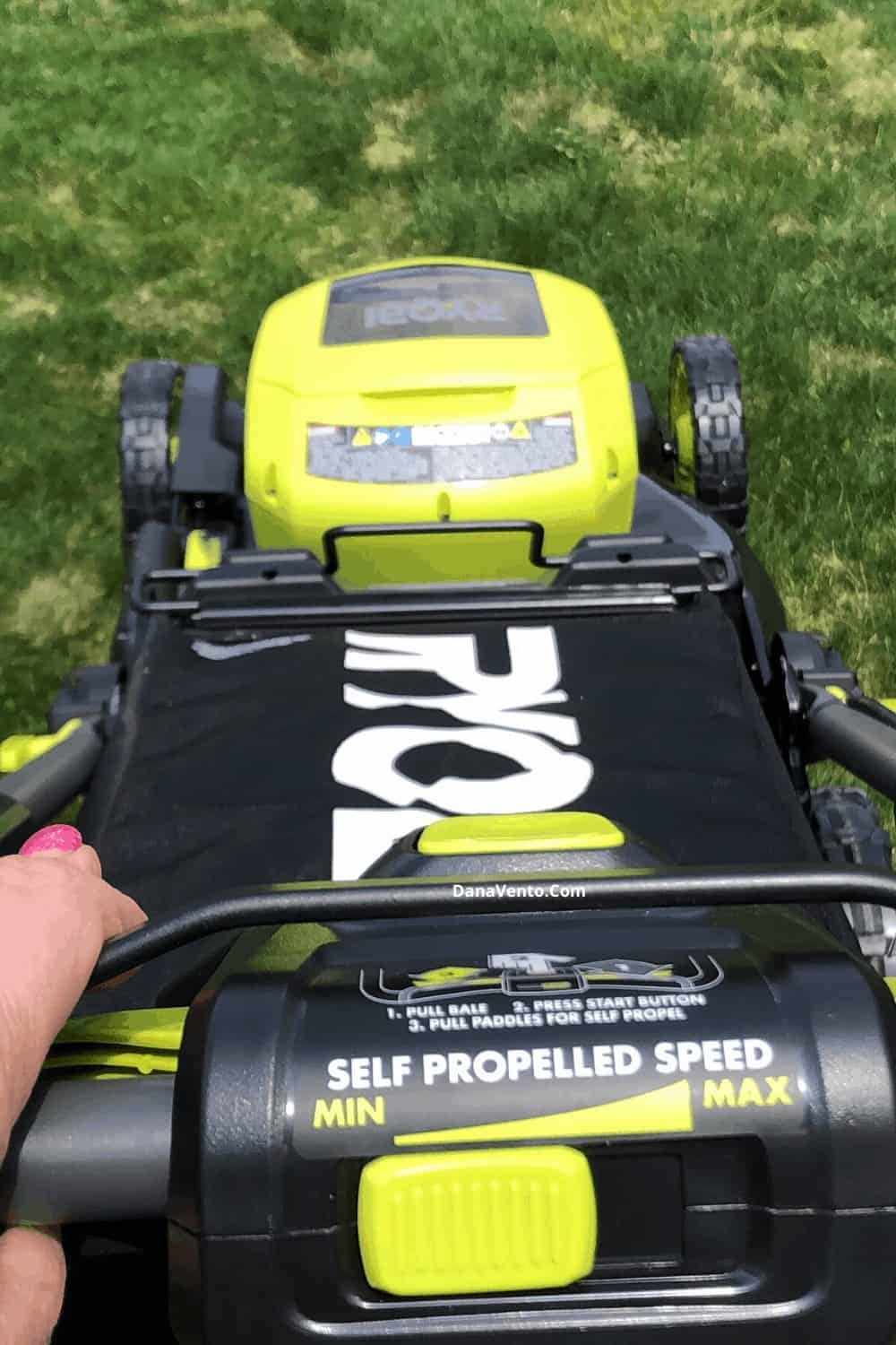 Bale handle on RYOBI Mower