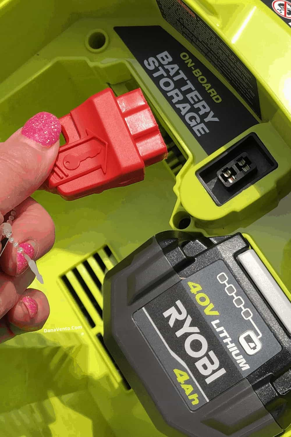 key to start mower by RYOBI + battery