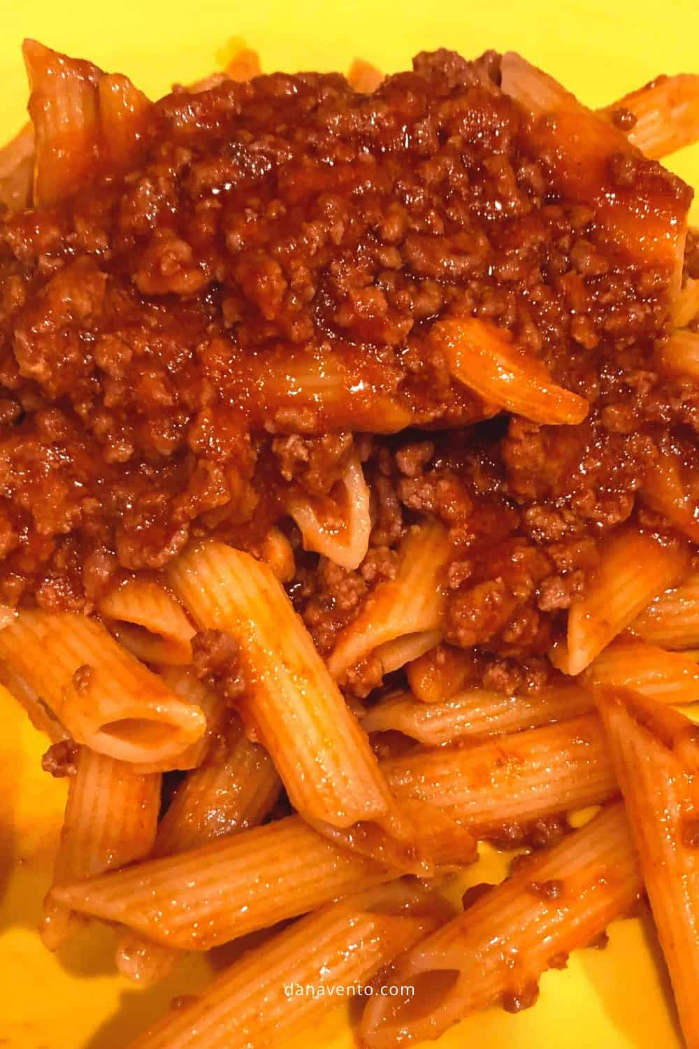 instant pot bolognese sauce in dish with pasta on dish3
