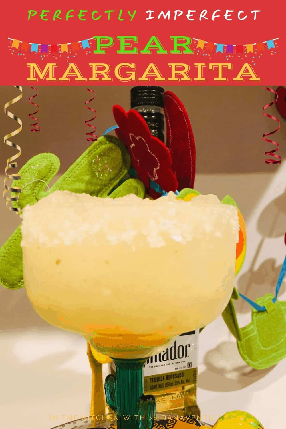 white background with pear margarita