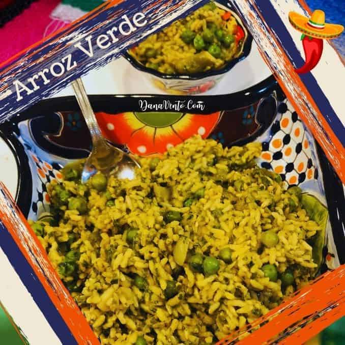 Arroz Verde Mexican Green Rice Bowl and side dishe