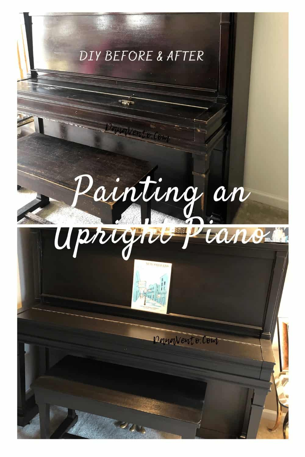 BEFORE AND AFTER PHOTOS OF PIANO BEFORE BEING PAINTED