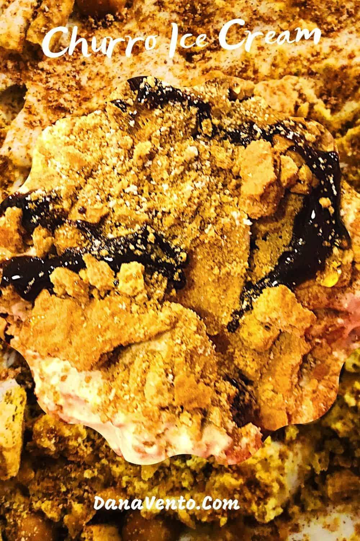 No-churn churro ice cream with cinnamon sugar background
