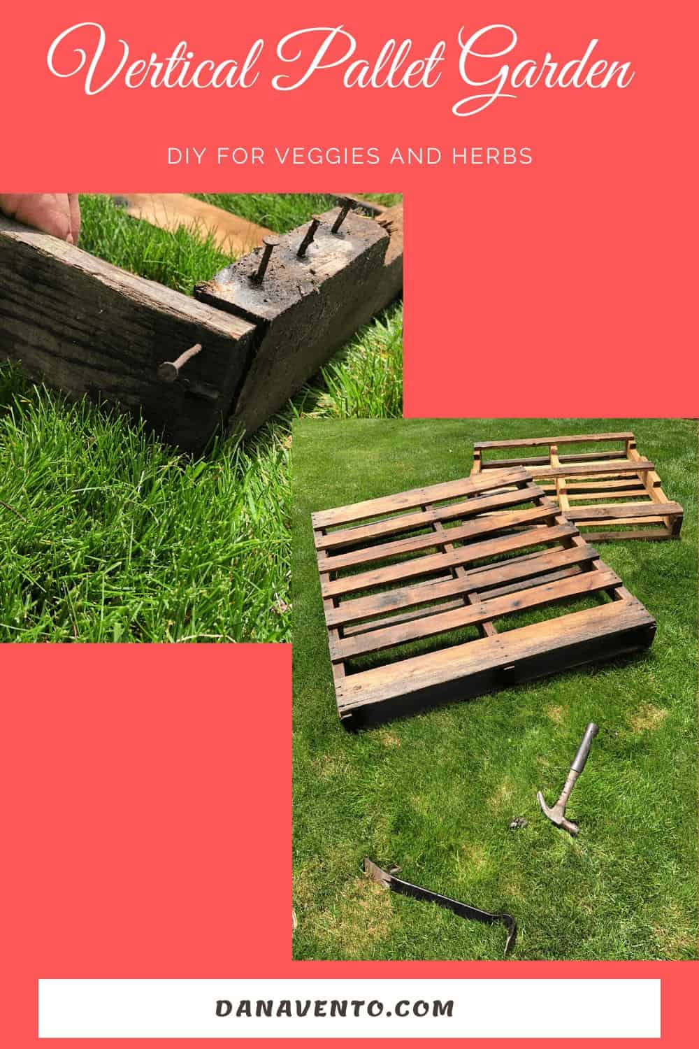 pallet under construction in the grass and taking nails out to adjust slats