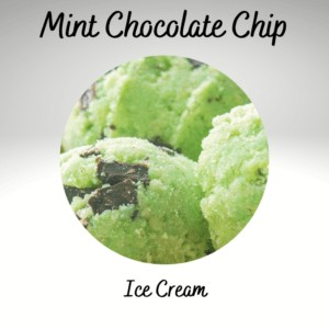 Mint Chocolate Chip Ice Cream scoops up close