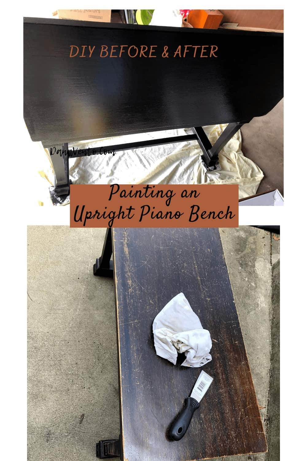before and after of piano bench DIY