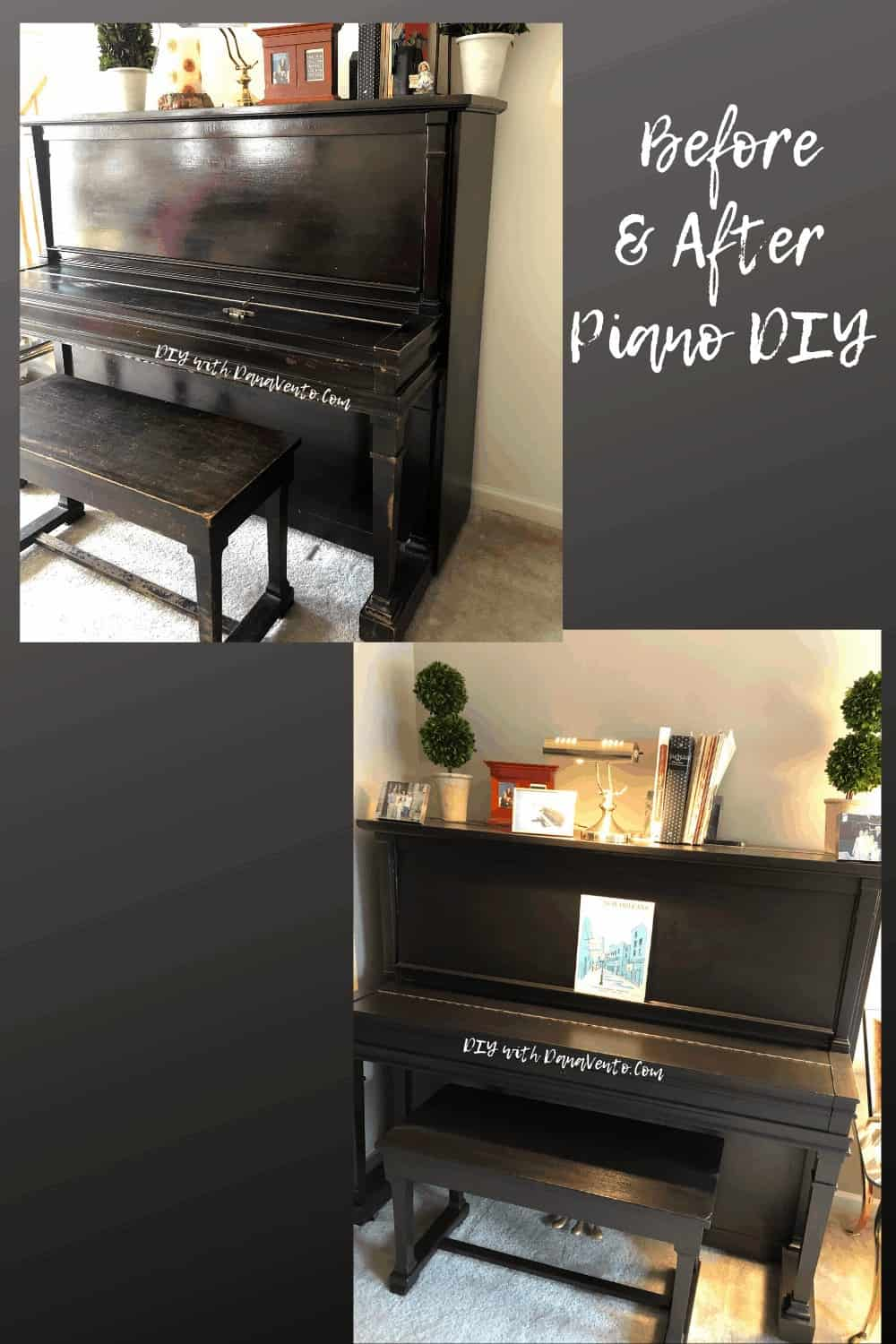 front of piano before and after