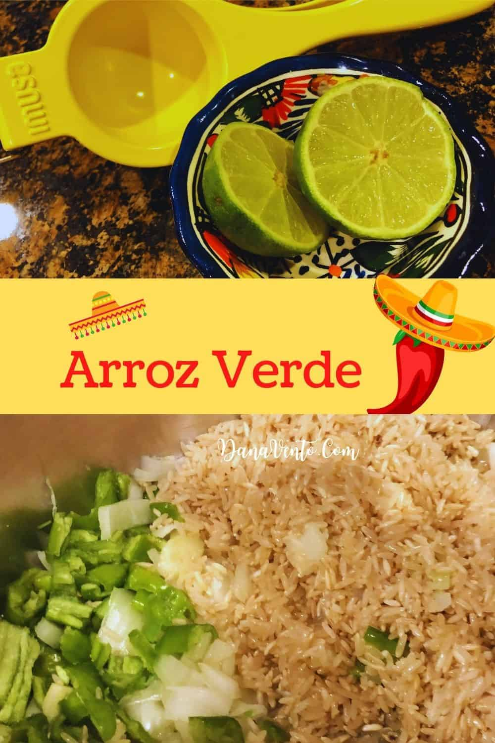 lime and rice mixture with pepper Arroz Verde