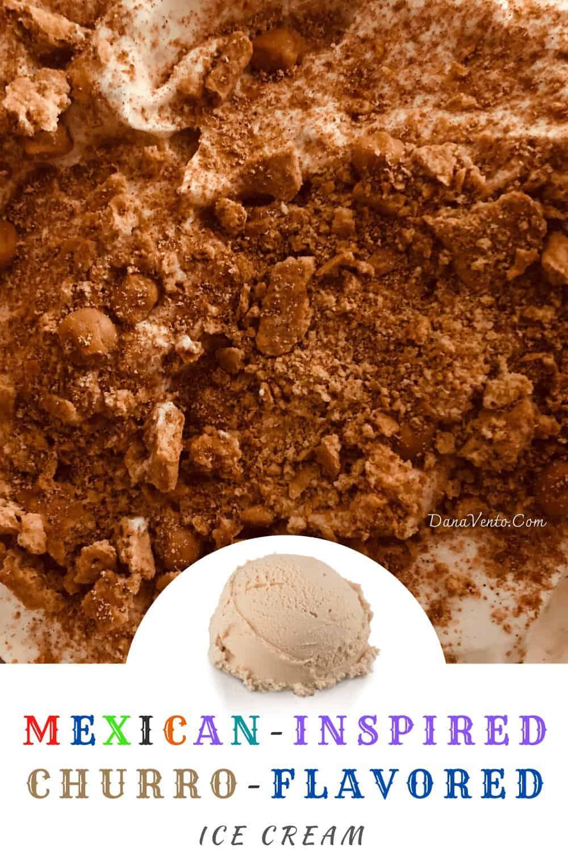 Freshly made no-churn churro ice cream going in freezer