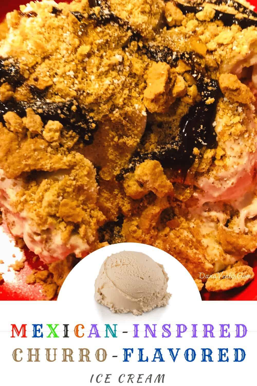 No-Churn Churro Ice Cream a scoop