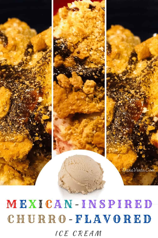 No-Churn Churro Ice Cream topped with cinnamon chocolate flavor