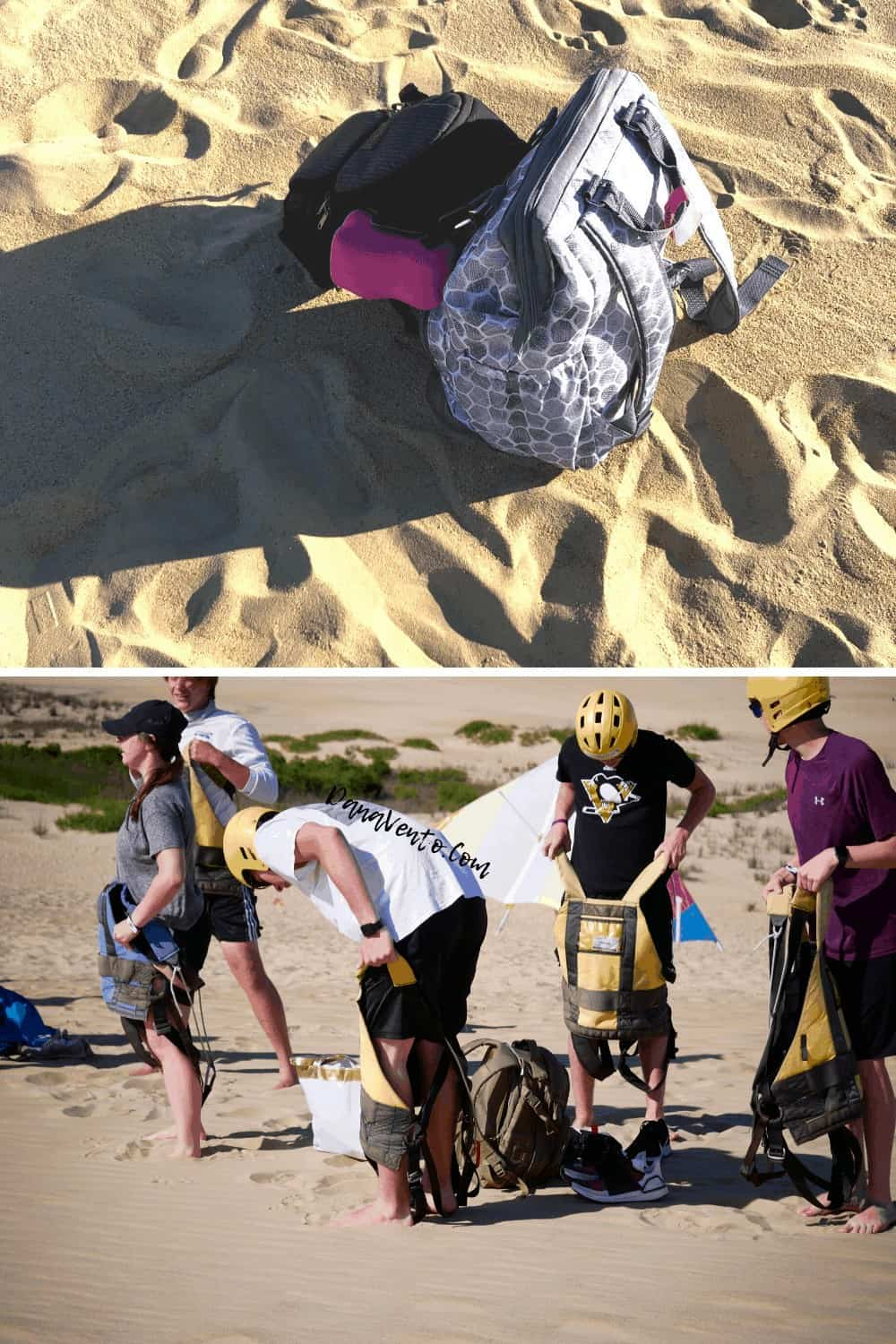 Backpacks on sand at Outer Banks hang gliding experience