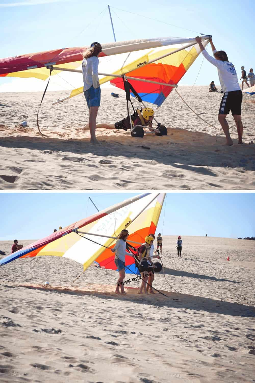 Strenuous manuerving of hang glider with Nick of Kitty Hawk Kites