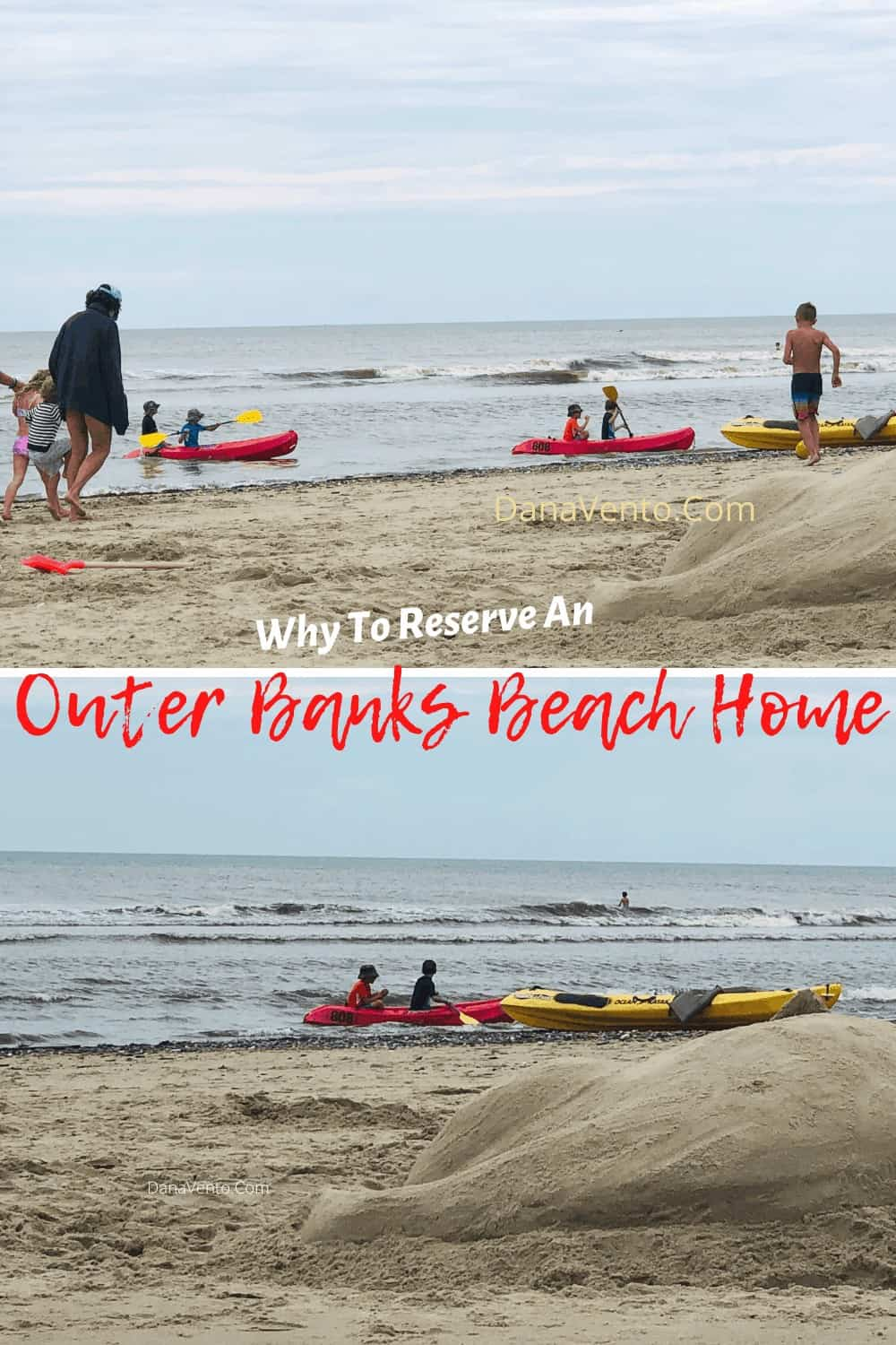 Beach shoreline kayaking at the Outer Banks Beach House