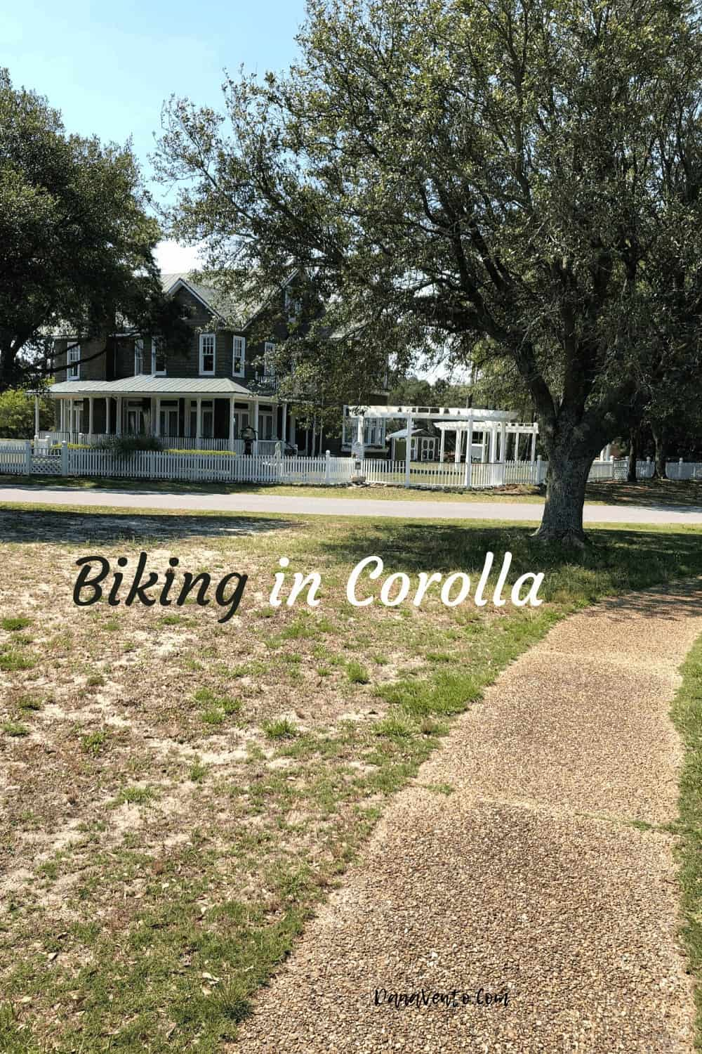 Biking through Corolla Historic Park paths without people in the way