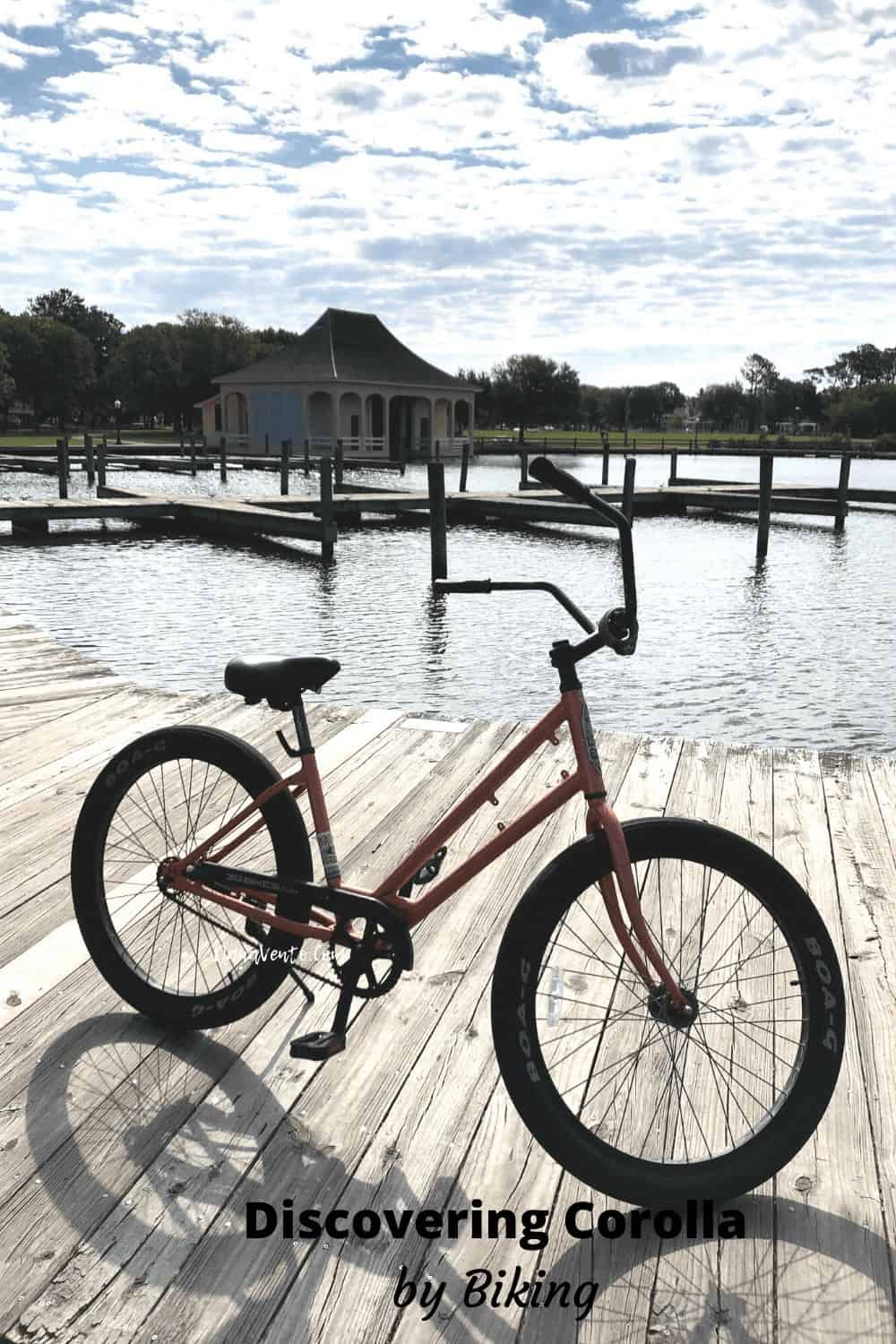 Bike parked at Corolla Historic Park by piers