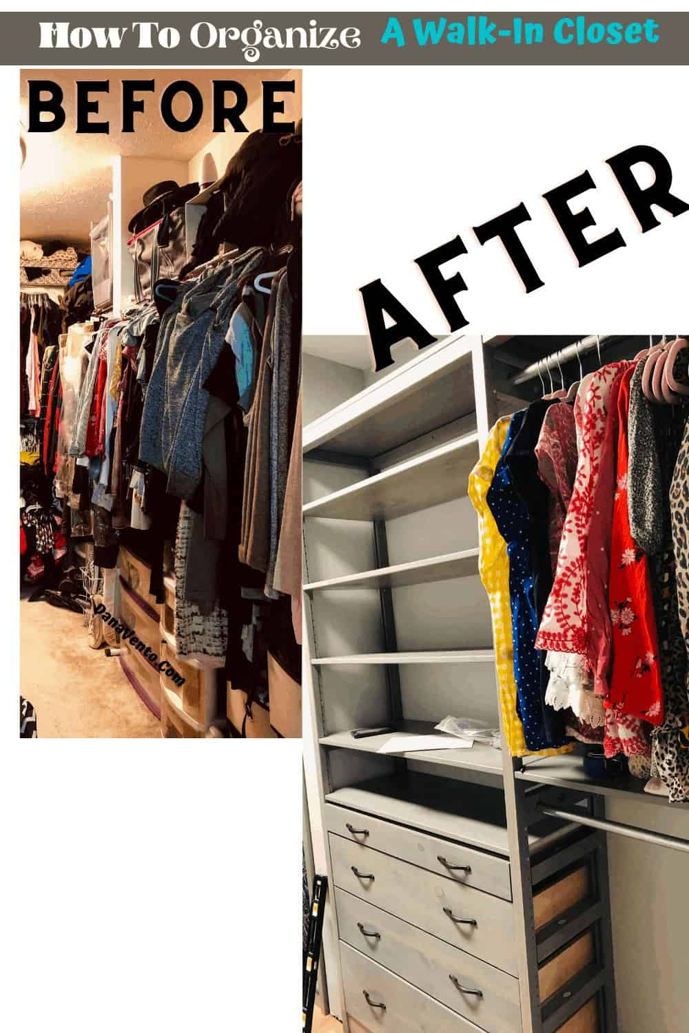 before and after of one side of  the solid wood closet system with drawers and shelves